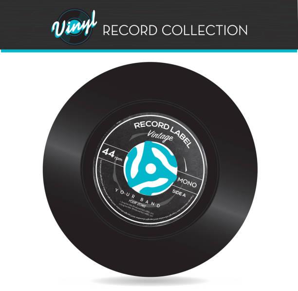 45 rpm schallplatte mit adapter - schallplatte stock-grafiken, -clipart, -cartoons und -symbole