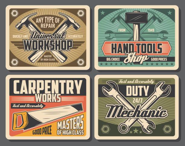 illustrazioni stock, clip art, cartoni animati e icone di tendenza di rrepair and carpentry work tools - mechanic
