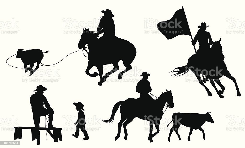 royalty free kids rodeo clip art vector images illustrations istock rh istockphoto com Rodeo Silhouette Clip Art Rodeo Silhouette Clip Art