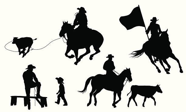 royalty free steer wrestling clip art vector images