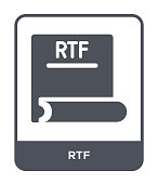 rtf icon vector on white background, rtf trendy filled icons from File type collection