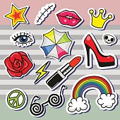 Fashion set of cartoon patch badges or pin badges