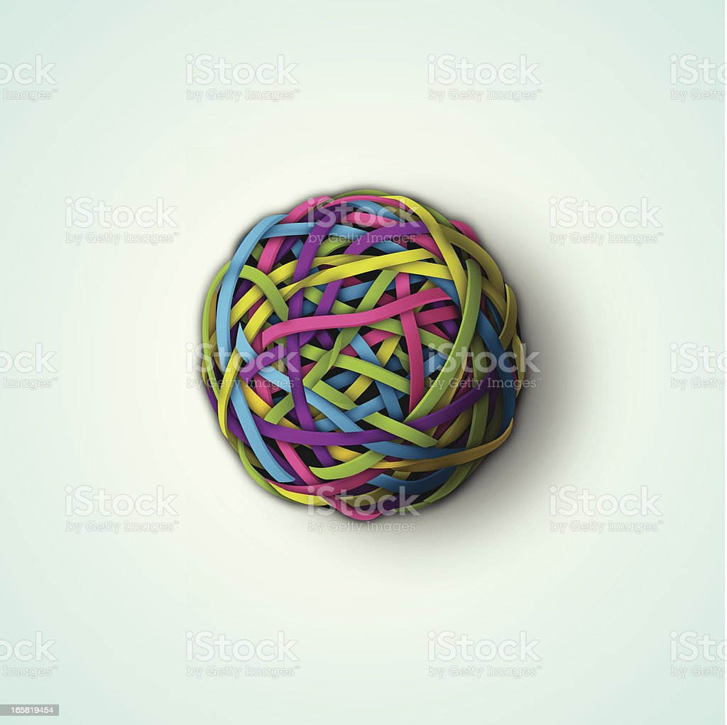 Rubber band ball vector art illustration