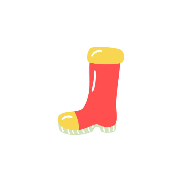 rubber boot in red and yellow colors for rainy weather walking or farm agricultural works. - square foot garden stock illustrations, clip art, cartoons, & icons