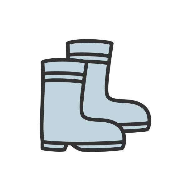 rubber boots flat color line icon. - square foot garden stock illustrations, clip art, cartoons, & icons