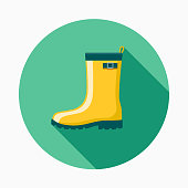 Rubber Boots Flat Design Gardening Icon with Side Shadow
