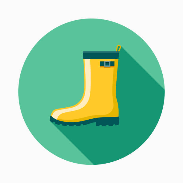 rubber boots flat design gardening icon with side shadow - boot stock illustrations