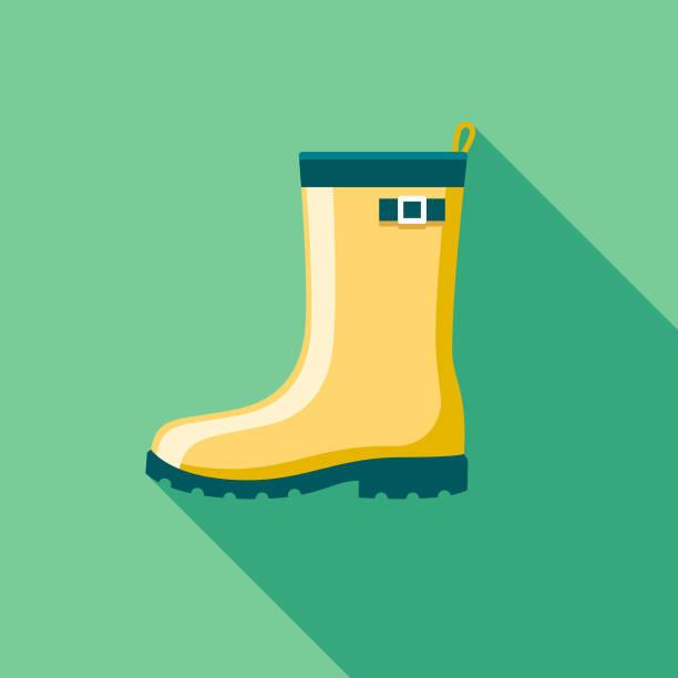 stockillustraties, clipart, cartoons en iconen met rubber laarzen platte ontwerp springtime pictogram - fresh start yellow