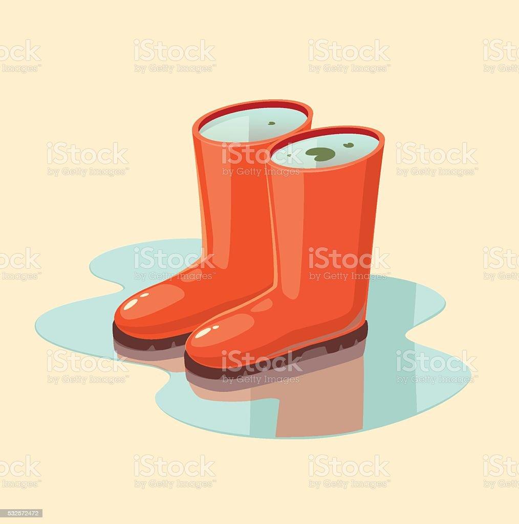 Rubber boots full of water. Concept vector illustration. vector art illustration