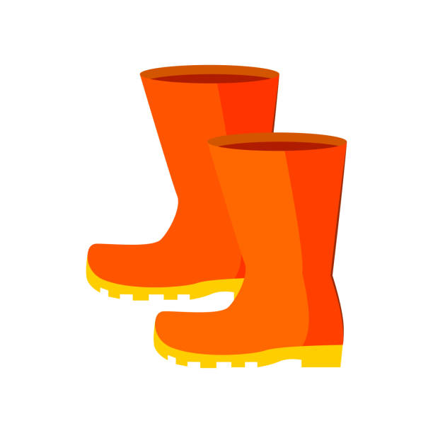 rubber boots. gumboots for rainy weather - square foot garden stock illustrations, clip art, cartoons, & icons