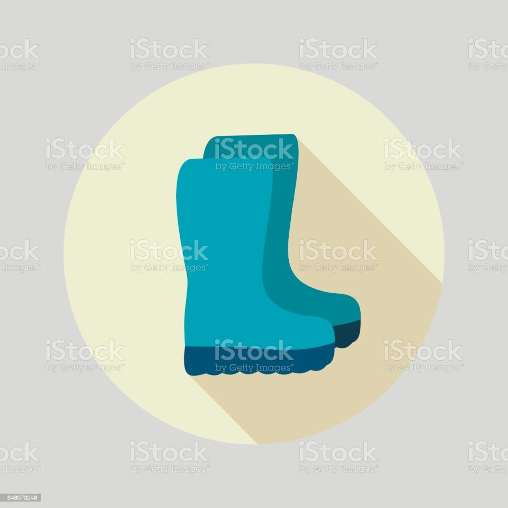 Rubber boots, gumboots, wellies flat vector icon vector art illustration