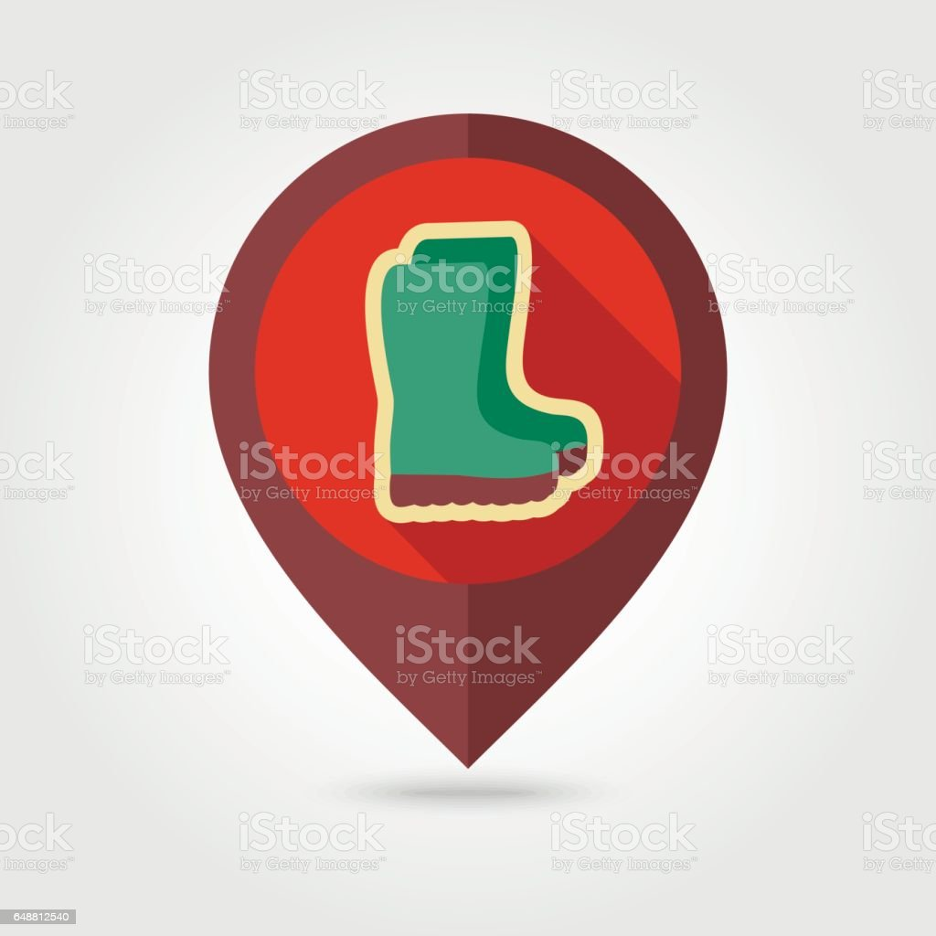 Rubber boots, gumboots, wellies pin map icon vector art illustration