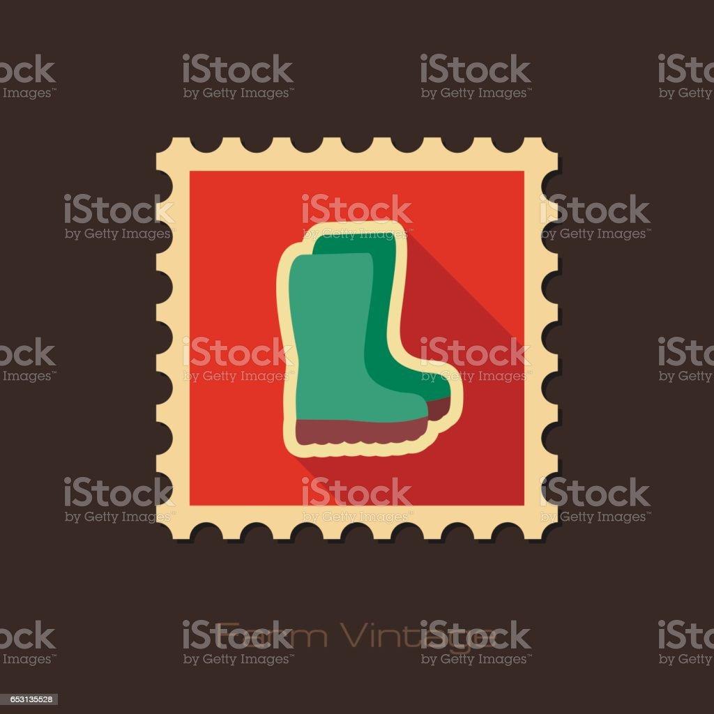Rubber boots, gumboots, wellies retro flat stamp vector art illustration