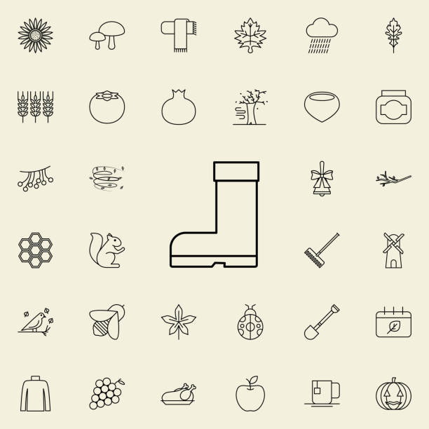rubber boots icon. autumn icons universal set for web and mobile - square foot garden stock illustrations, clip art, cartoons, & icons