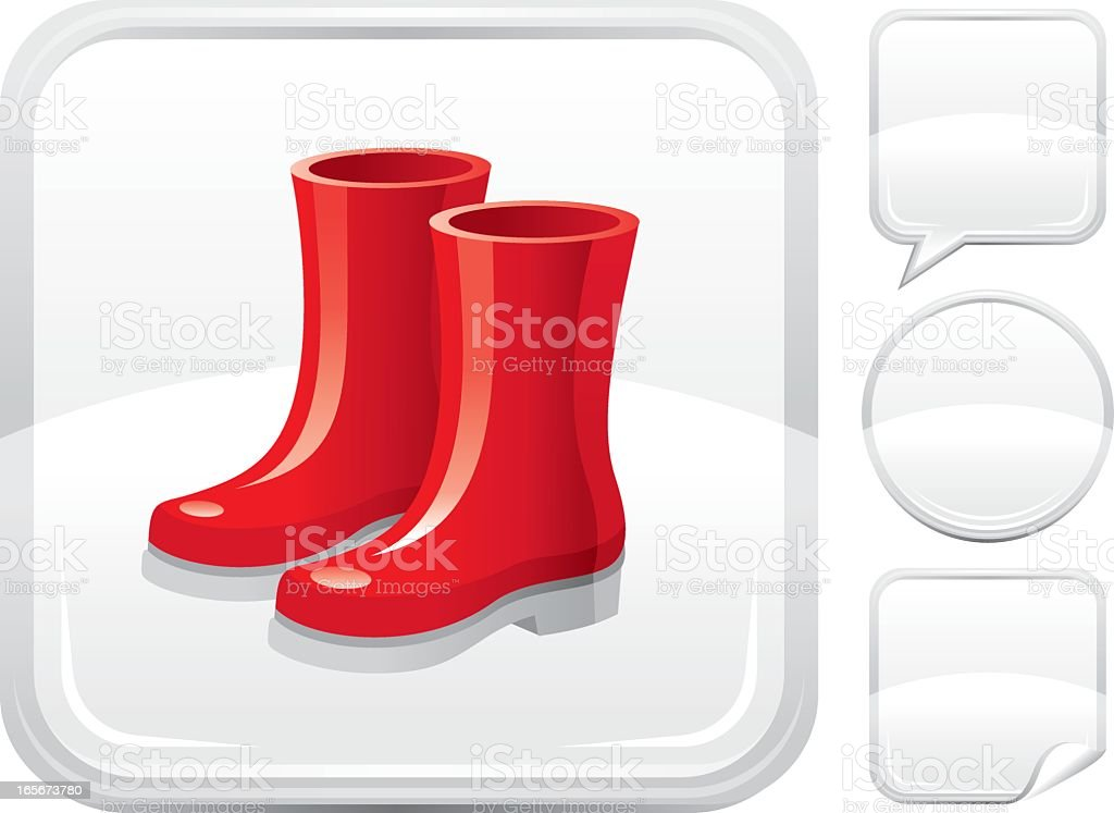 Rubber boots icon on silver button vector art illustration