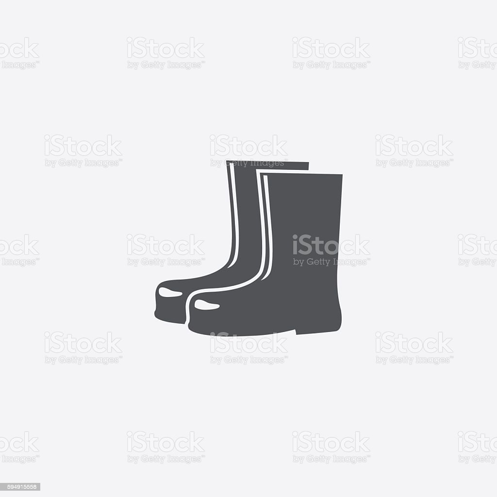 Rubber boots icon vector art illustration