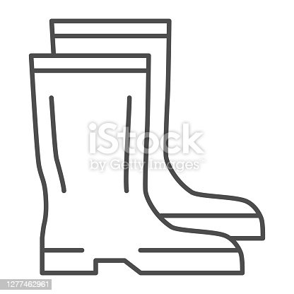 istock Rubber boots thin line icon, Garden and gardening concept, Waterproof shoes sign on white background, gumboots icon in outline style for mobile concept and web design. Vector graphics. 1277462961