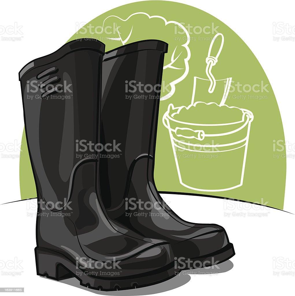 rubber boots vector art illustration