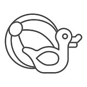 istock Rubber duck and beach ball thin line icon, Aquapark concept, Beach Toys sign on white background, Pool toy ball and rubber duck icon in outline style for mobile and web design. Vector graphics. 1286257930