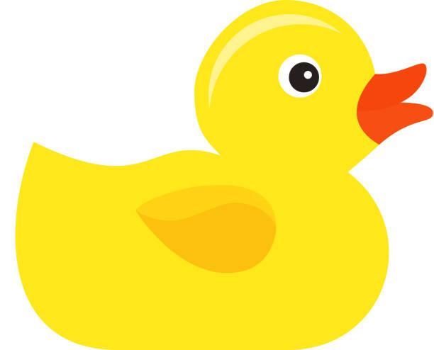 rubber duck baby bath toy, flat design. vector cartoon illustration. - duck stock illustrations