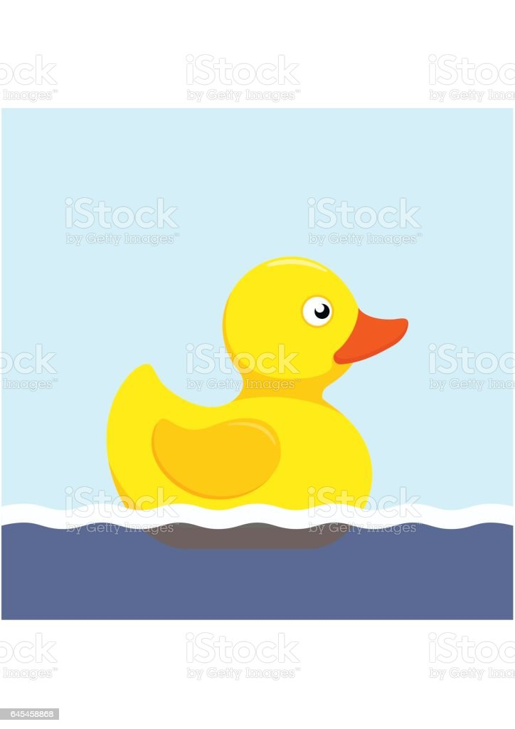 Rubber duck bath toy swimming in the water in flat style isolated on white background vector art illustration