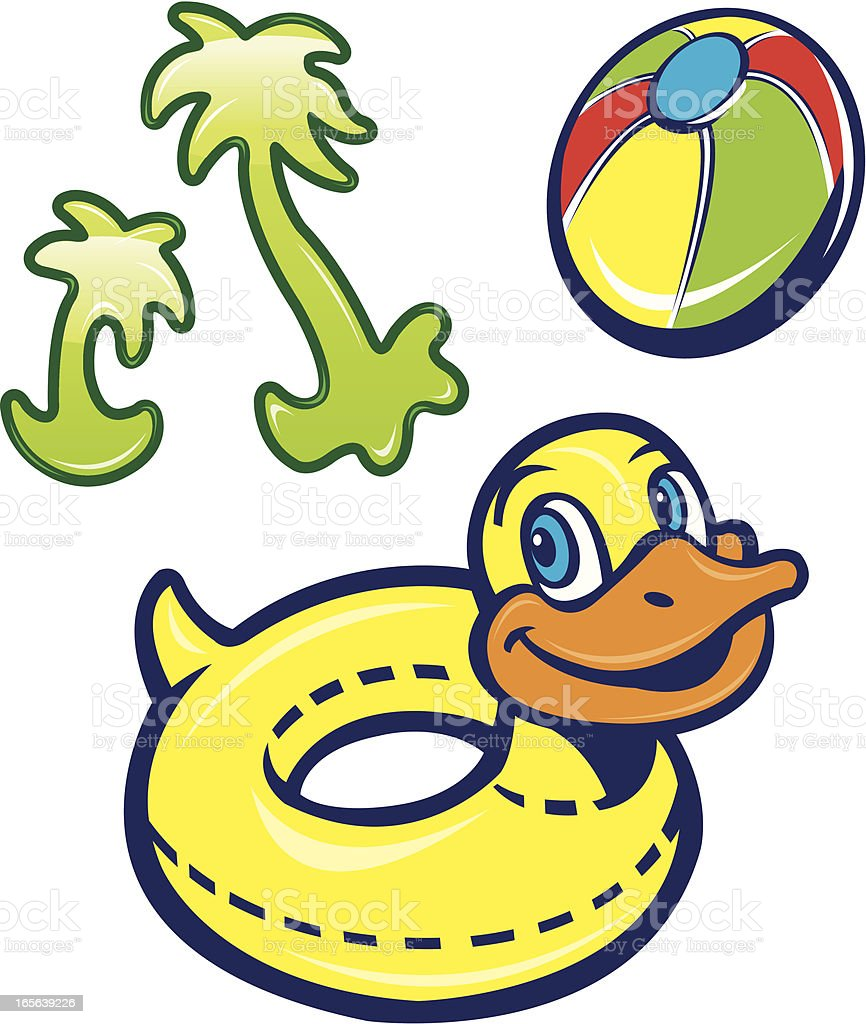 Rubber Duck Float, Beach Ball and Palm Trees royalty-free stock vector art
