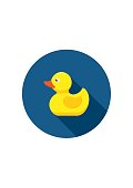 Rubber duck icon bath toy in flat style isolated on white background