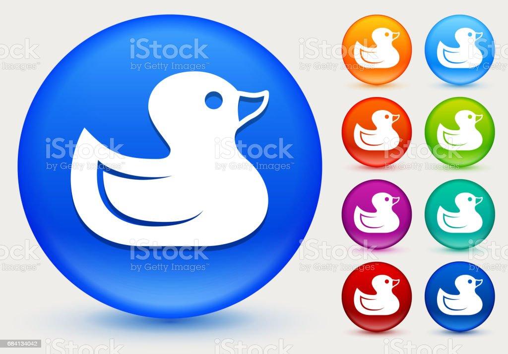 Gummi anka ikonen på blanka färgcirkeln knappar royaltyfri gummi anka ikonen på blanka färgcirkeln knappar-vektorgrafik och fler bilder på andfågel