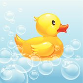 rubber duck in blue water