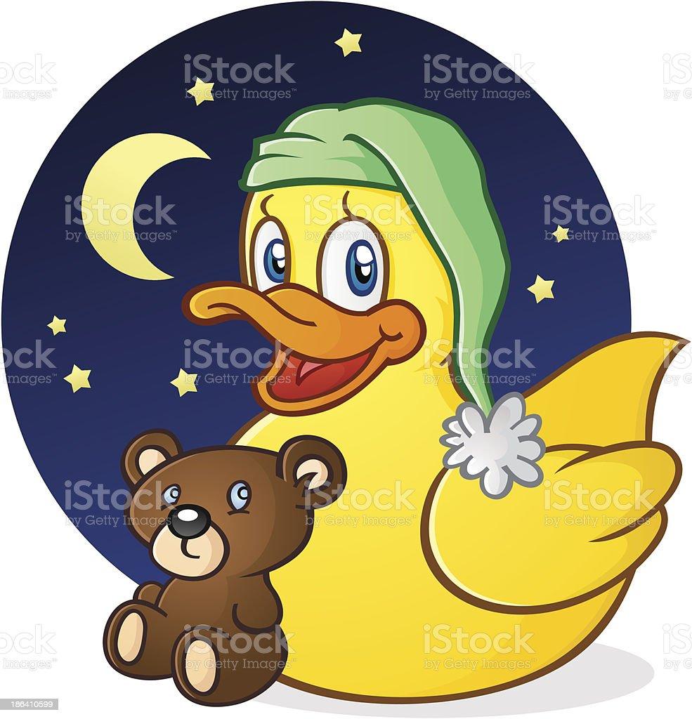 Canard en caoutchouc pour l'heure de la sieste de personnage de dessin animé - Illustration vectorielle