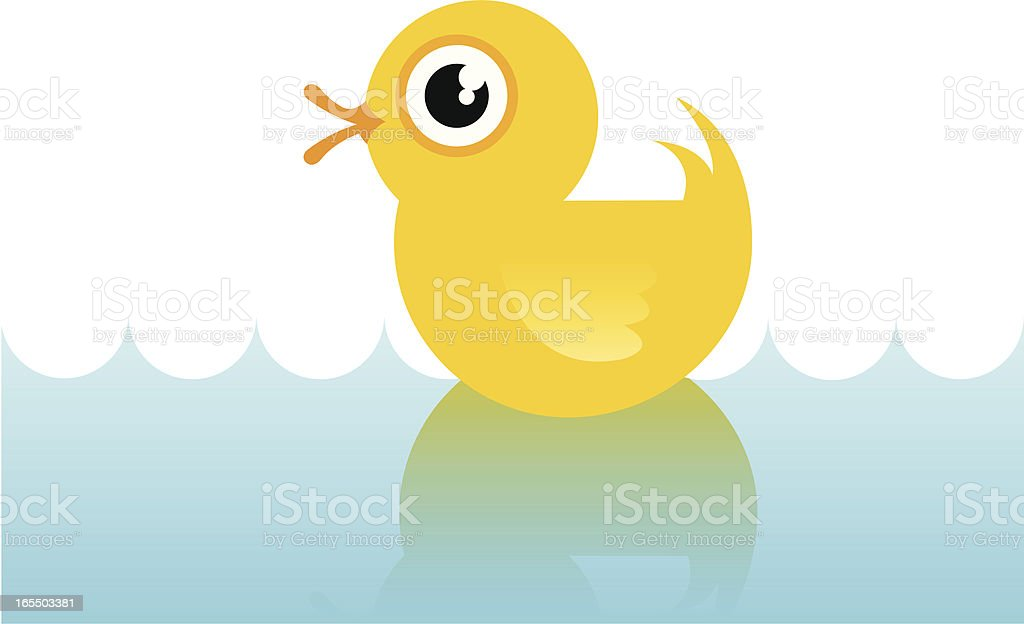 Rubber Duck on Water vector art illustration