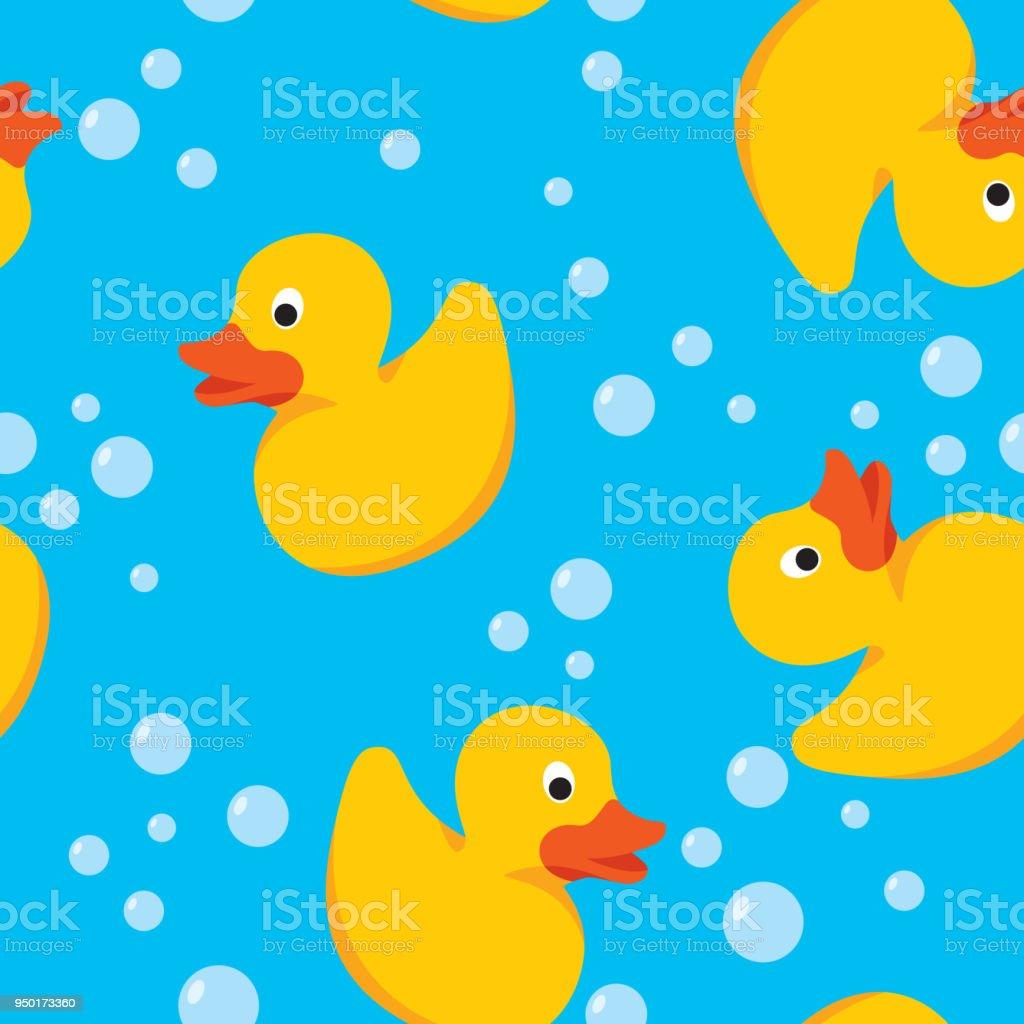 Rubber Duck Pattern vector art illustration