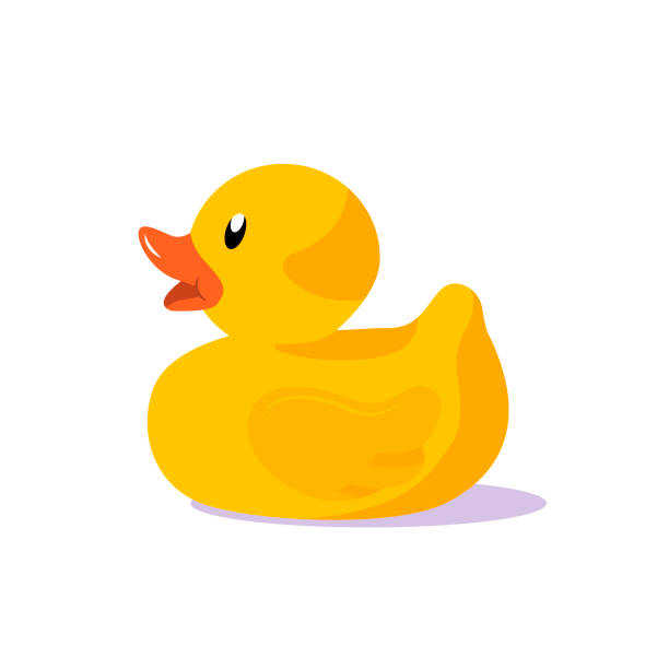 Rubber duck vector illustration Rubber duck vector illustration. Yellow rubber duck children toy isolated on white background. Flat design. duckling stock illustrations