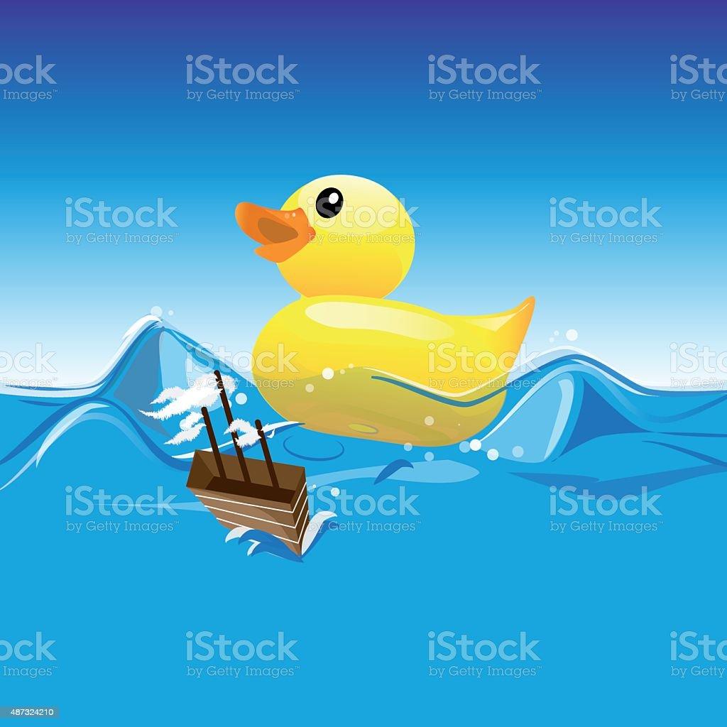 rubber duck vector vector art illustration