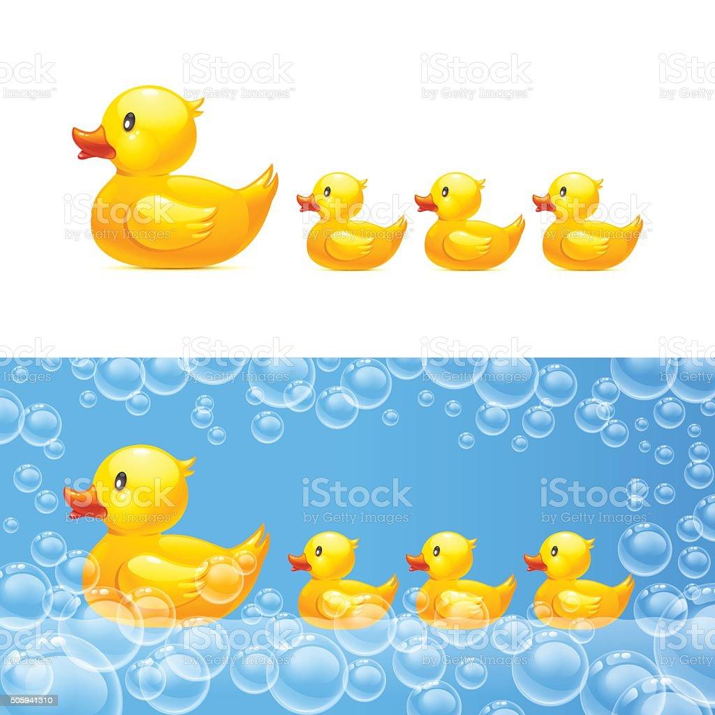 rubber duck with ducklings. Vector vector art illustration
