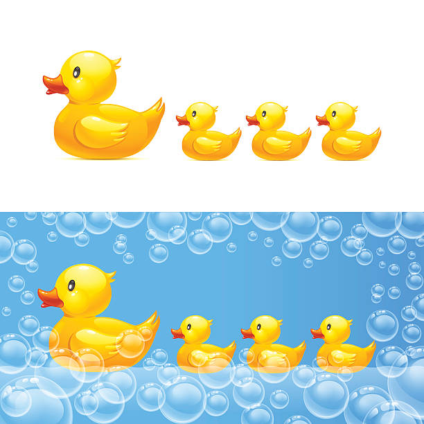 rubber duck with ducklings. Vector rubber duck with ducklings. Vector 10eps. Transparent bubbles duckling stock illustrations