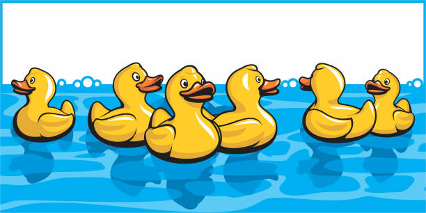 Rubber Ducks In The Bath vector art illustration