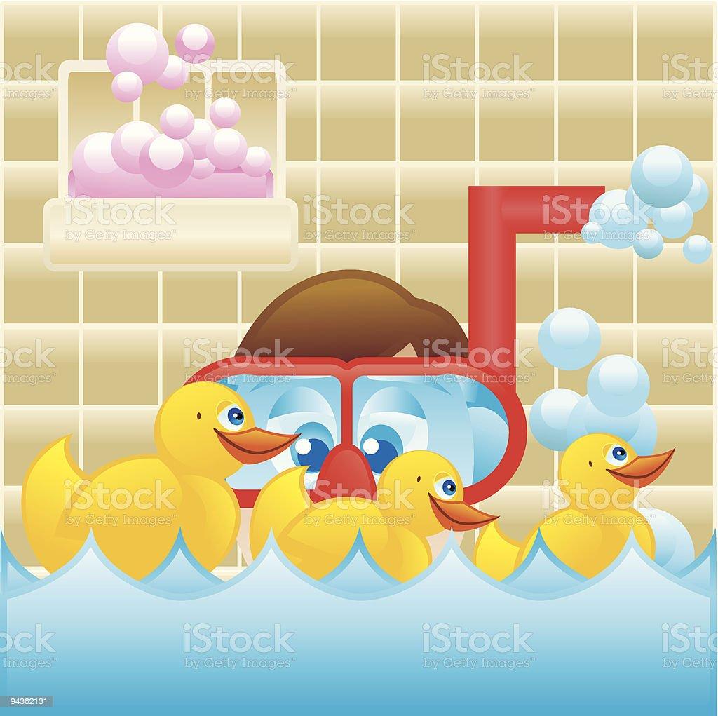 Rubber Ducky Bubble Bath royalty-free stock vector art