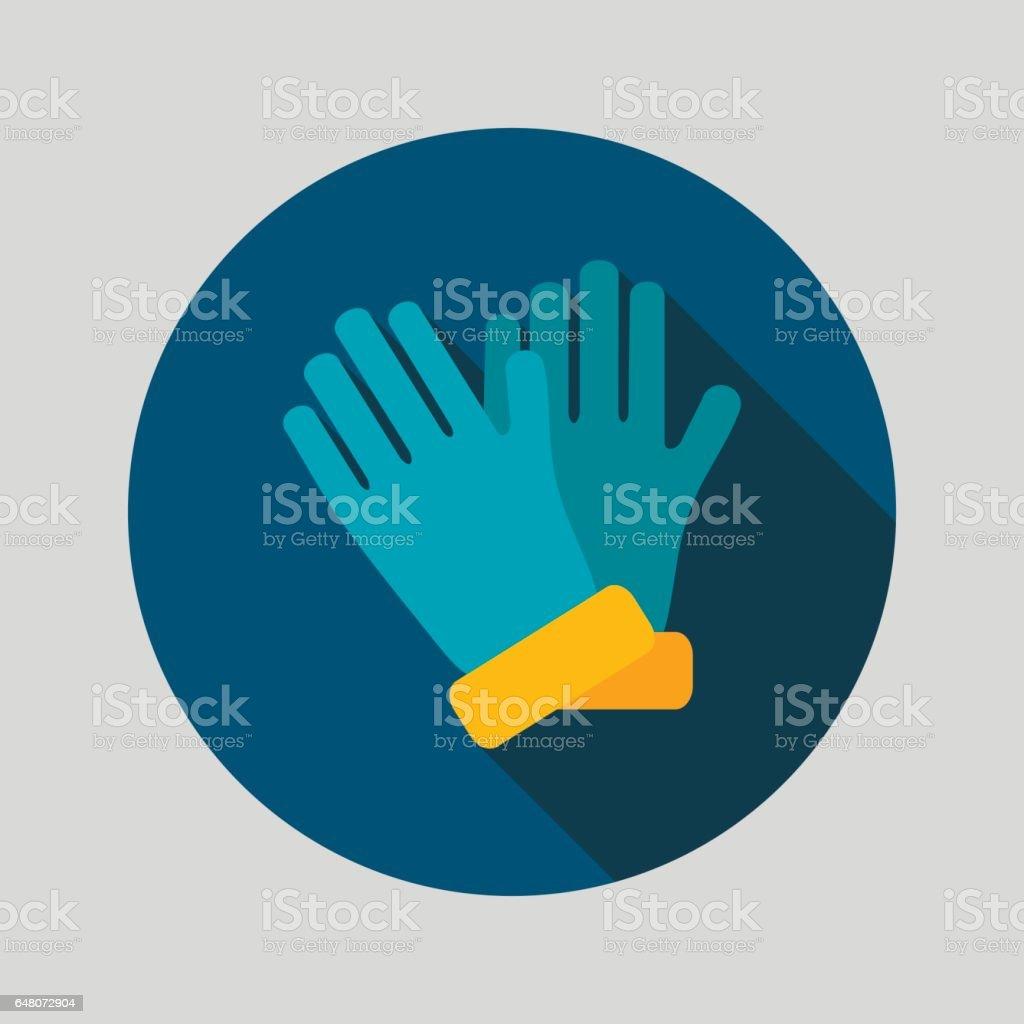 Rubber garden gloves flat vector icon vector art illustration