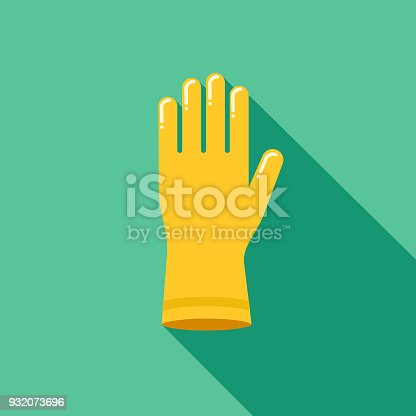 istock Rubber Glove Flat Design Cleaning Icon with Side Shadow 932073696