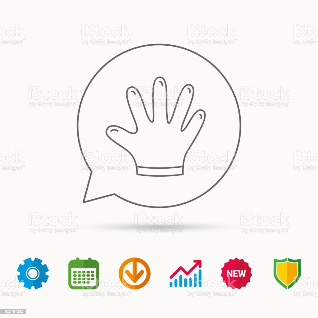 Rubber Gloves Icon Latex Hand Protection Sign Stock Vector Art