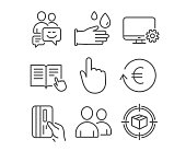 Rubber gloves, Users and Hand click icons. Exchange currency, Monitor settings and Communication signs.