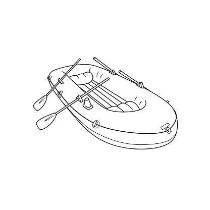 Rubber inflatable boat transportation cartoon vector. Only black and white for coloring page, preschool children first word book.