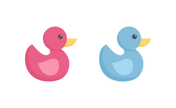 Rubber or plastic duck toy for toddler bathing in flat style isolated on white background. Rubber or plastic duck toy for toddler bathing in flat style isolated on white background - pink and blue bird with yellow peak for baby shower or born congratulation in vector illustration. ducking stock illustrations