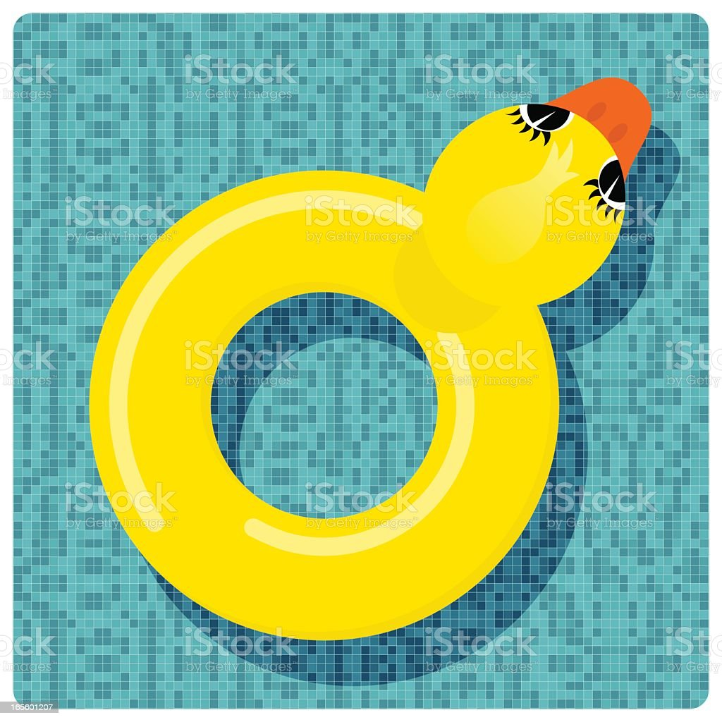 Rubber ring duck vector art illustration