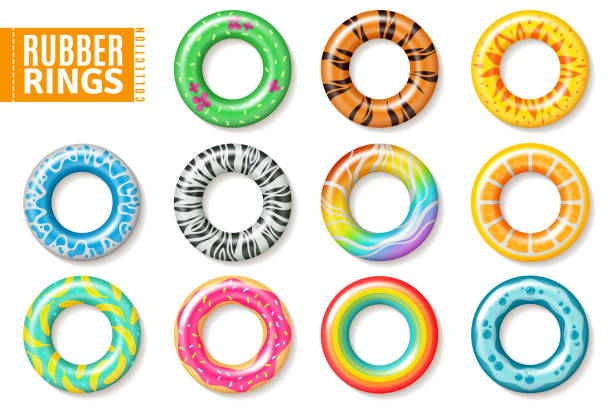 Rubber rings. Swimming inflatable float pool kids buoy toys colorful lifesaver ring children beach summer sea realistic vector set Rubber rings. Swimming inflatable float pool kids buoy toys colorful lifesaver ring children beach summer sea realistic vector collection floating on water stock illustrations