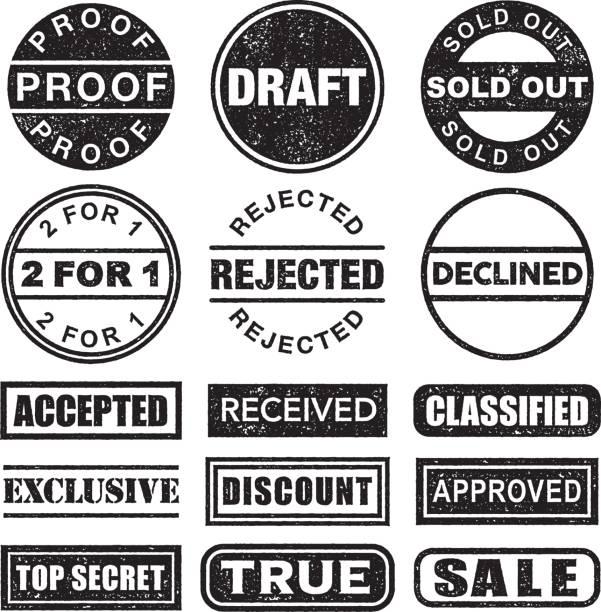 stempel-schwarz / weiß-icon-set auf transparenten hintergrund - korrekturlesen stock-grafiken, -clipart, -cartoons und -symbole