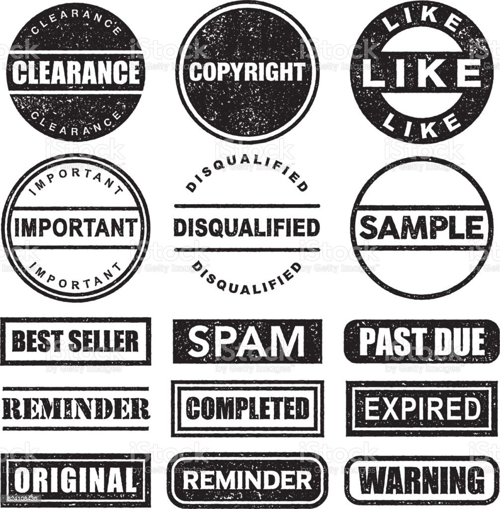 Rubber Stamp Black and White Icon Set on Transparent Background vector art illustration
