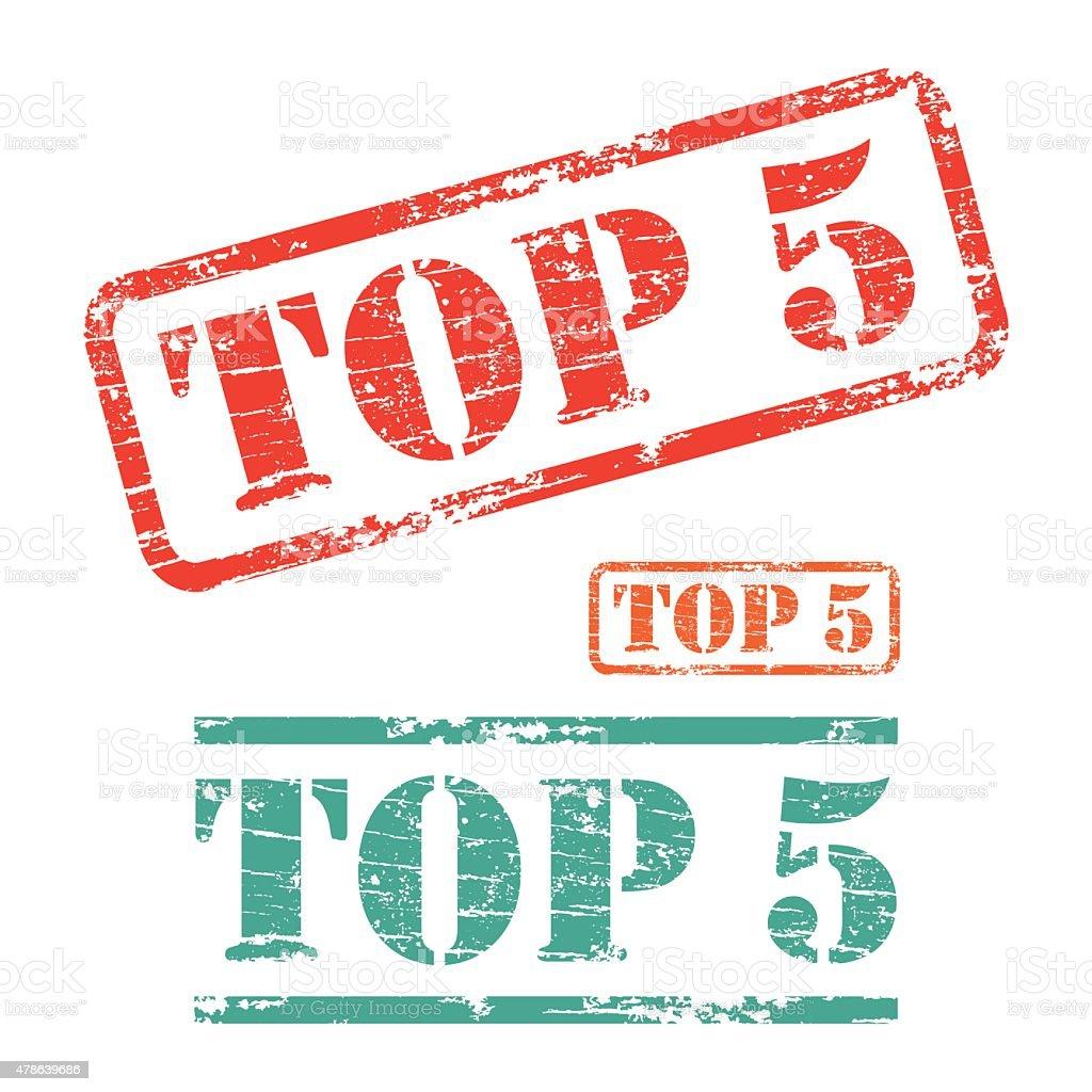 Rubber stamp design TOP FIVE vector art illustration