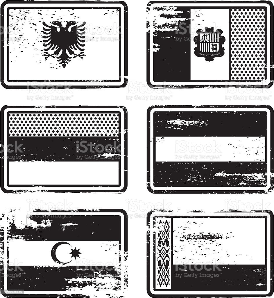 Rubber Stamp Flags vector art illustration